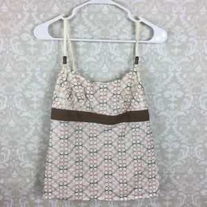 Cream Embroidered Ann Taylor Loft Lined Cami